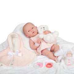 JC Toys, La Newborn All-Vinyl Real Girl 15 inches Baby Doll Pink Coat Deluxe Set