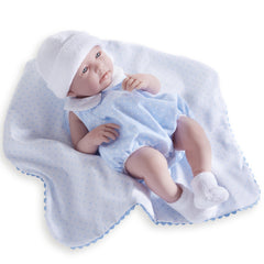 JC Toys, La Newborn All-Vinyl 17in Real Boy Baby Doll-Blue Bubble Suit & Blanket