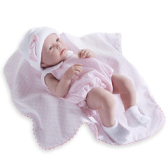 JC Toys,La Newborn All-Vinyl 17in Real Girl Baby Doll-Pink Bubble Suit & Blanket