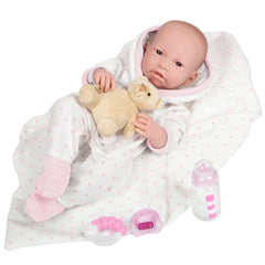JC Toys, La Newborn AllVinyl Real Girl 17in Baby Doll-Pink Stars Outfit 9Pcs Set