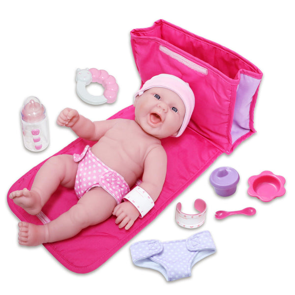 "JC Toys, La Newborn 10 Piece Deluxe Diaper Bag Gift Set 13"" Realistic Smiling Baby Newborn Doll"