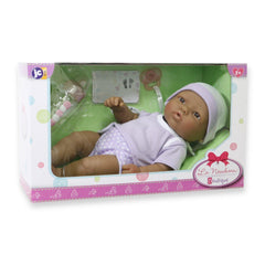 JC Toys, La Newborn 12 inches Hispanic All Vinyl Nursery Gift Set Doll