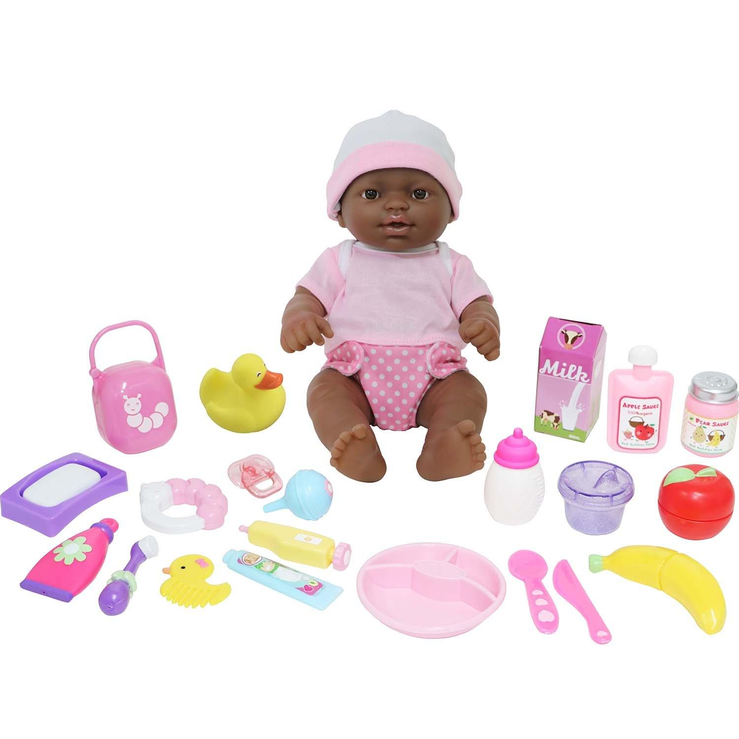 JC Toys, La Newborn Deluxe 12 inches African American Baby Doll All Vinyl Nursery 25 Piece Gift Set