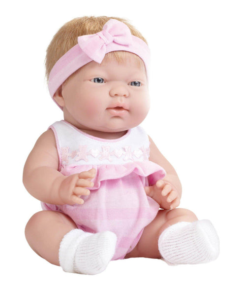 JC Toys, ANI Baby Doll 13 inches - Blonde Hair in Pink Outfit