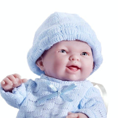 JC Toys, Mini La Newborn All Vinyl 9.5in Real Boy Baby Doll dressed in Blue