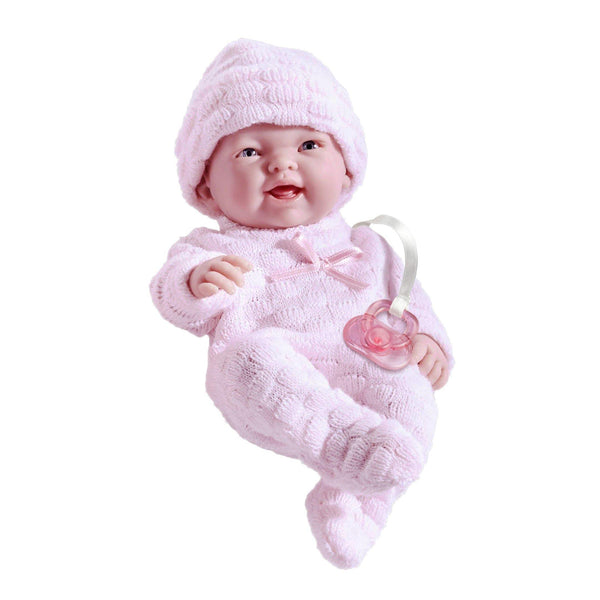 JC Toys, Mini La Newborn All Vinyl 9.5 inches Real Girl Baby Doll dressed in Pink