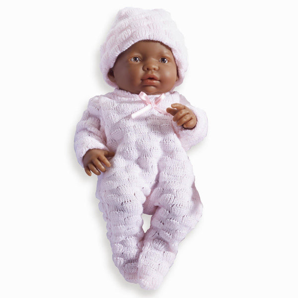 JC Toys, Mini La Newborn All Vinyl 9.5 inches  African American Real Girl Baby Doll dressed in Pink