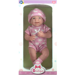 JC Toys, La Newborn All-Vinyl Realistic 15in Real Girl Baby Doll–Pink Polka Dots