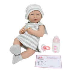 JC Toys, La Newborn All-Vinyl Real Girl 15in Baby Doll in Grey Striped Outfit