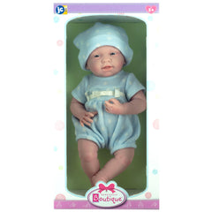 JC Toys, La Newborn All-Vinyl 15 Inch Real Boy Baby Doll - Blue Knit Outfit