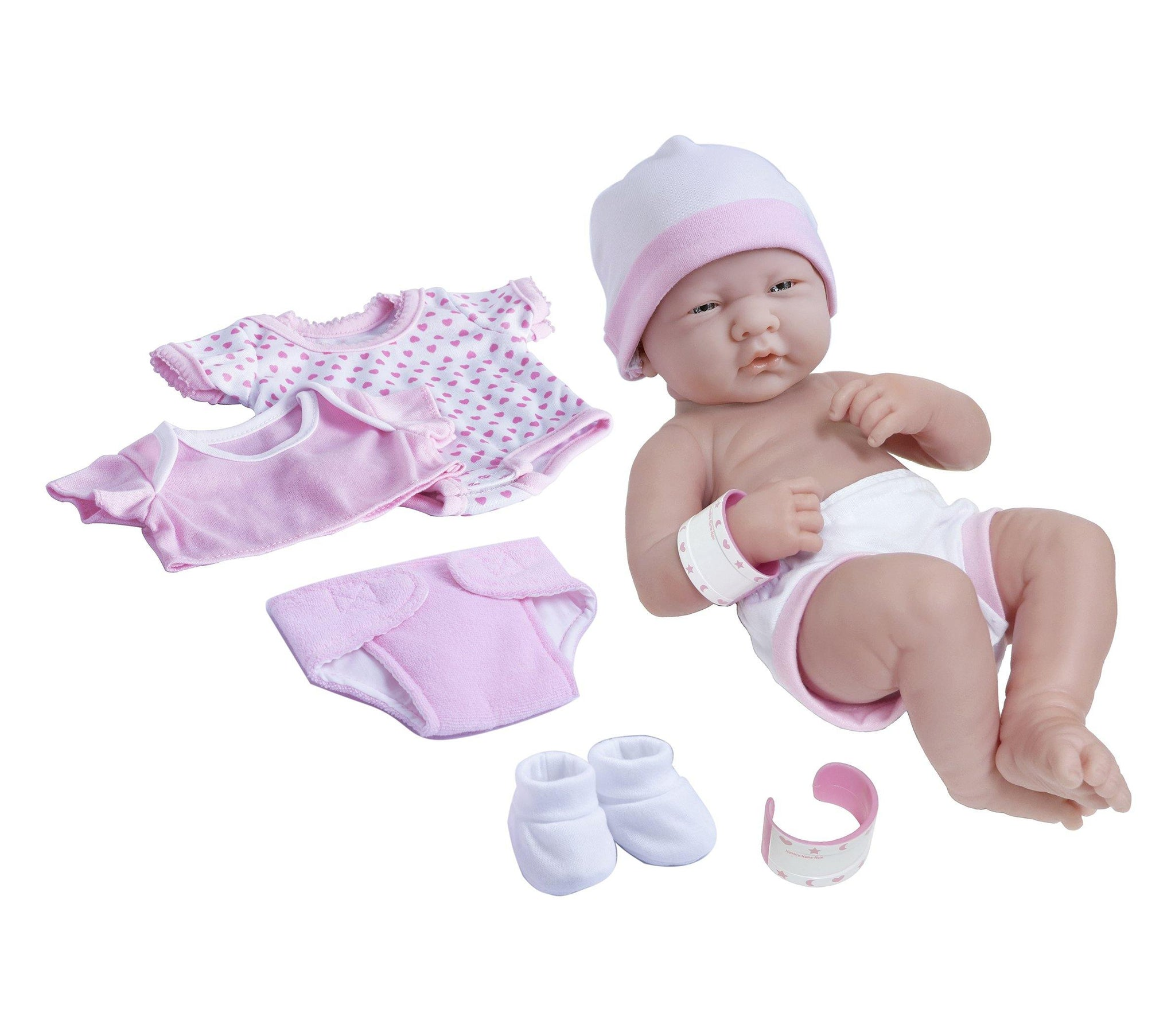"La Newborn Nursery 8 Piece Pink Layette Baby Doll Gift Set, featuring 14"" Life-Like ""Open Mouth"" Newborn Doll"