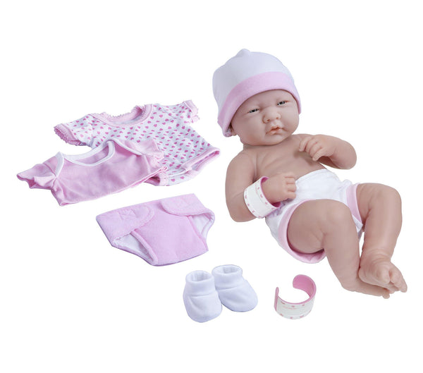 JC Toys, La Newborn Nursery 8 piece Layette Pink Baby Doll Gift Set 14 inch Lifelike Newborn Doll-Accessories-Ages 2+