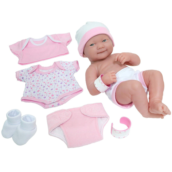 JC Toys, La Newborn Nursery 8 piece Layette Pink Baby Doll Gift Set 14 inch Lifelike Smiling Doll-Accessories-Ages 2+