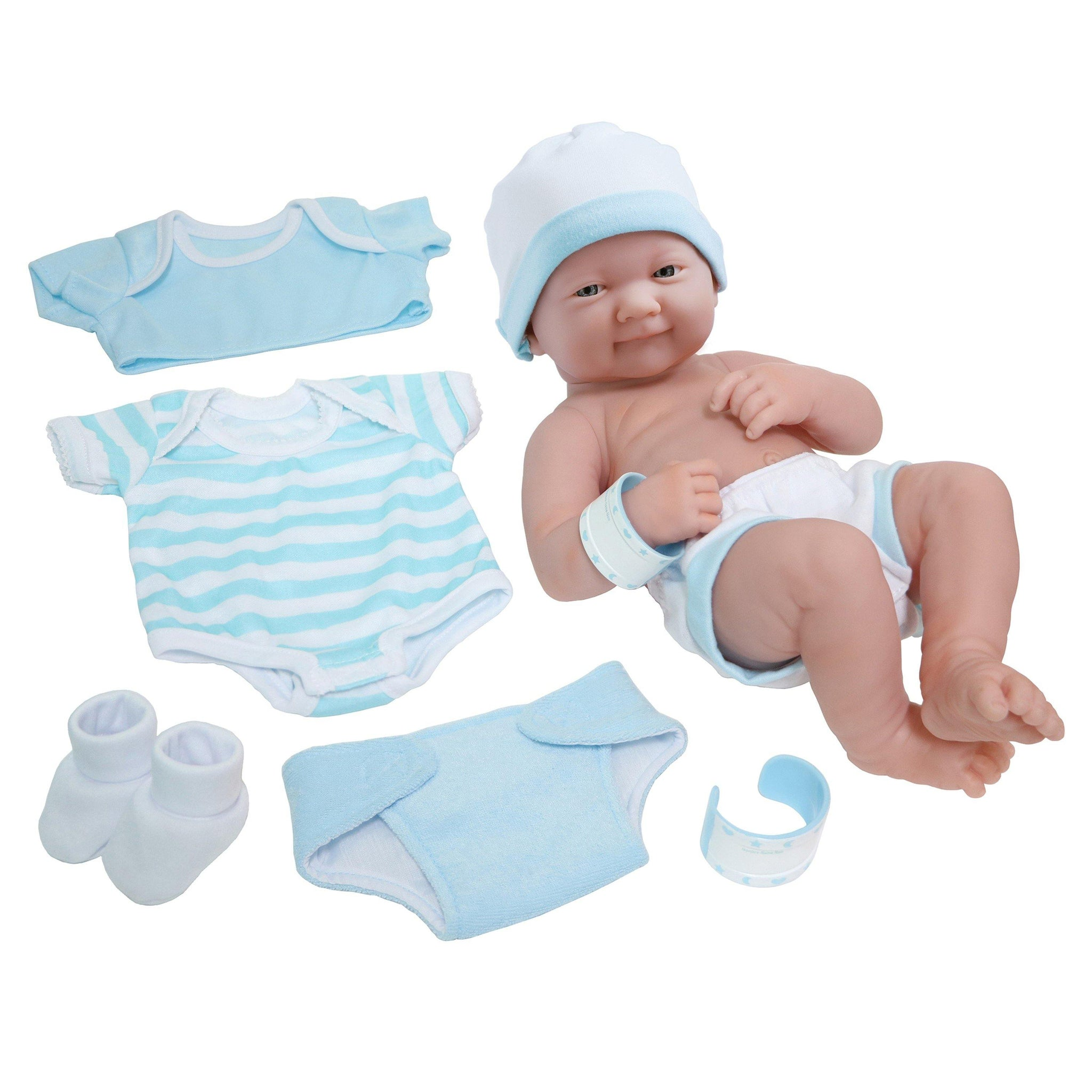 JC Toys, La Newborn Nursery 8 Pc Blue Layette Baby Doll Gift Set, 14 inch Life-Like Smiling Doll