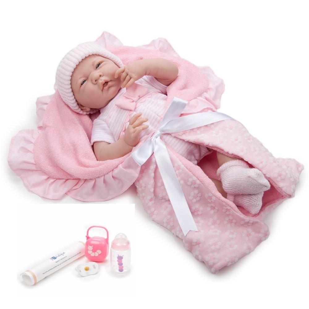 JC Toys, La Newborn Soft Body Baby Doll 15.5in Deluxe Pink Layette Gift Set