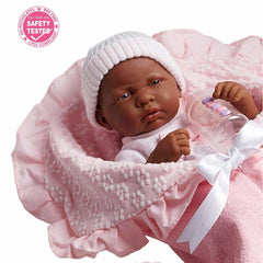 JC Toys, Soft Body La Newborn African American Baby Doll 15.5in-Pink Layette Set