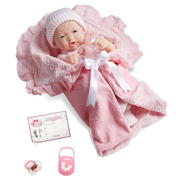 JC Toys, Soft Body La Newborn Asian Baby Doll 15.5in Deluxe Pink Layette Set