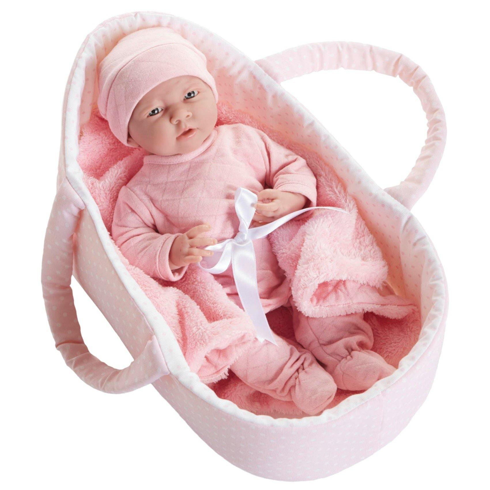 JC Toys, La Newborn Realistic 15.5in Baby Doll With Fabric Basket & Gift Set
