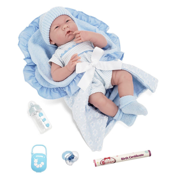 JC Toys, La Newborn Realistic Soft Body Baby Doll 15.5in - Blue outfit 7pcs Set