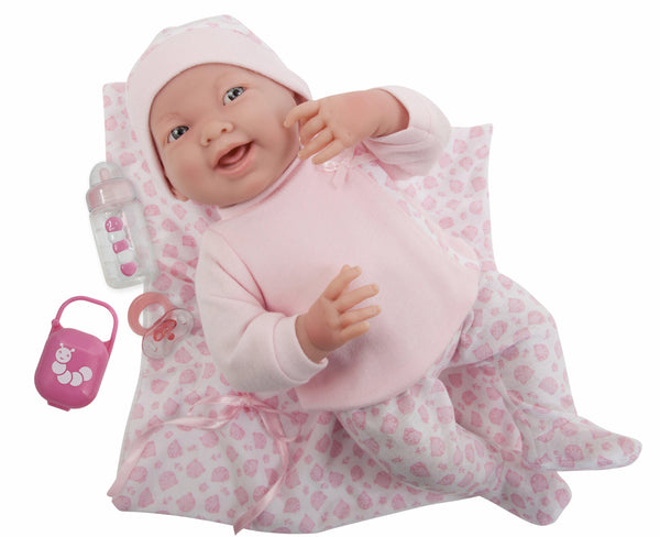 "La Newborn 15.5"" Soft Body Girl Baby Doll in Pink Kitty Outfit with Matching Kitty Blanket"