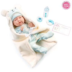 JC Toys, Soft Body La Newborn 15.5 inches baby doll - Blue Bear Bunting Gift Set