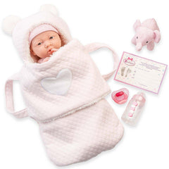 JC Toys, Soft Body La Newborn 15.5 inches baby doll in Pink Soft Basket Gift Set