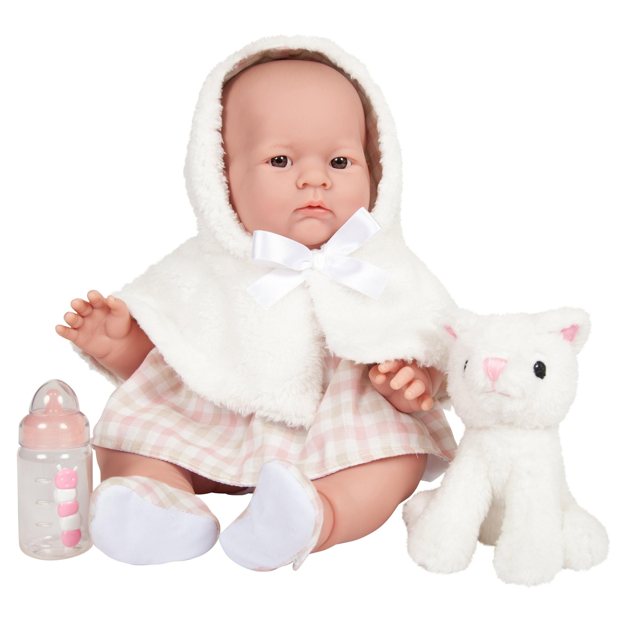 JC Toys, Lily Baby Doll 18in All-Vinyl Real Girl White Coat Set and Accessories