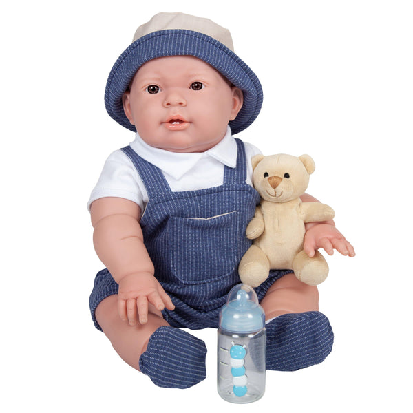 JC Toys, Lucas Baby Doll 18in All-Vinyl Real Boy - Overalls & Deluxe Accessories
