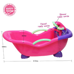 For Keeps! Baby Doll Bathtub and Accessories with Real Working Shower Fits Most Dolls Up to 17