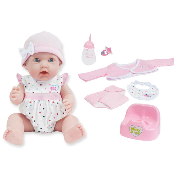 JC Toys, Missy Kissy 15in Baby Doll Electronic Drink&Wet Set-She really Speaks!
