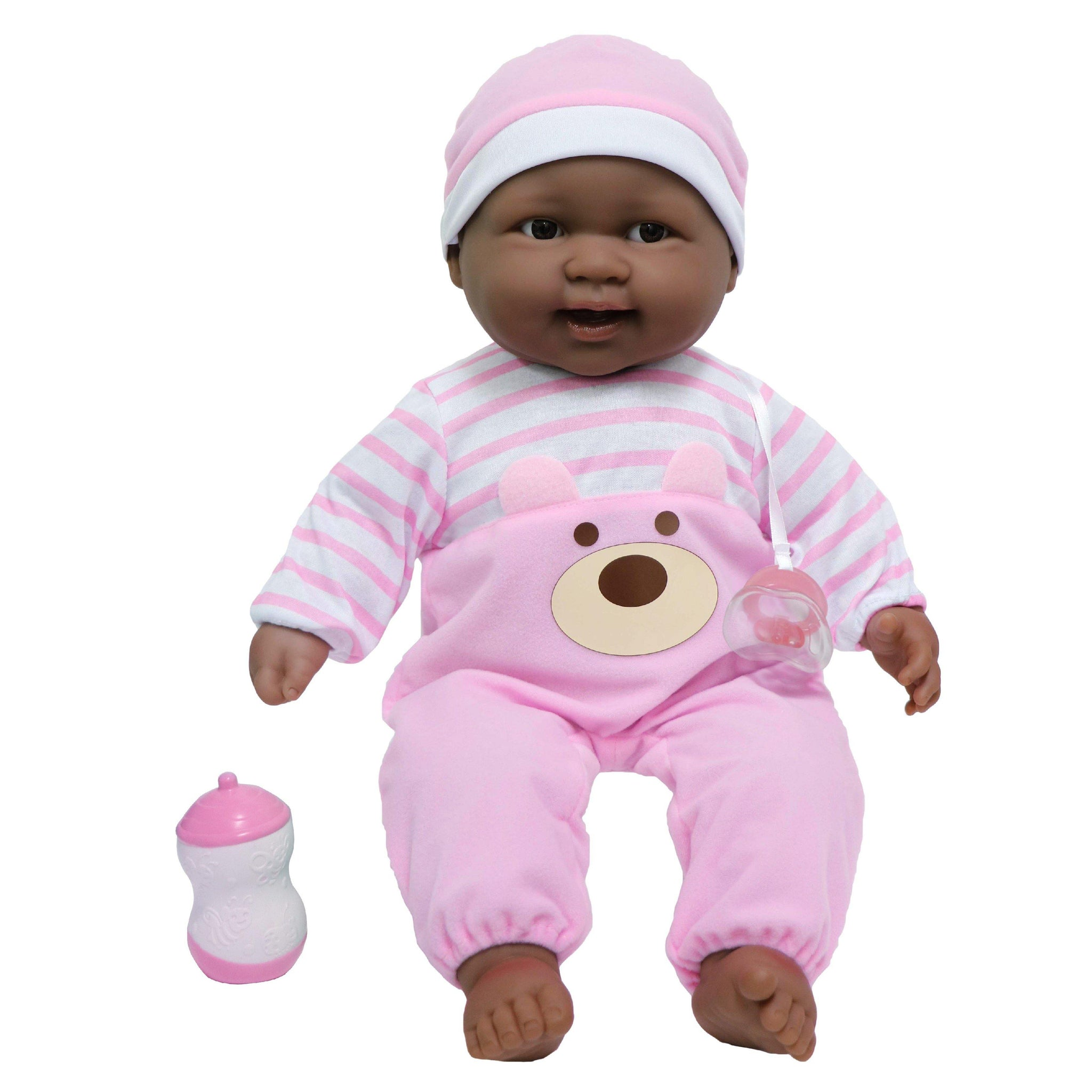 JC Toys, Lots to Cuddle Babies African American Soft Body Baby Doll 20 in - Pink