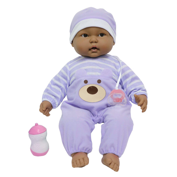 JC Toys, Lots to Cuddle Babies Hispanic Soft Body Baby Doll 20 in -Purple outfit