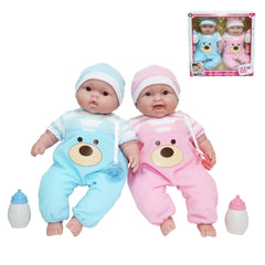 JC Toys, Lots to Cuddle Babies 13 inches Likelife Twins Soft Body Baby Dolls