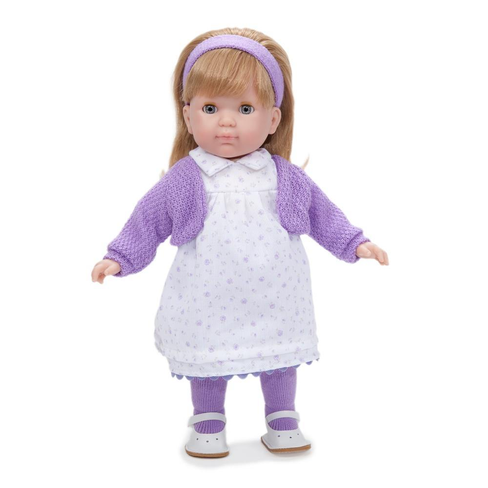 JC Toys Blonde Toddler Doll, 14-Inch Soft Body Doll Dressed in Pretty Purple Flower Dress. Open and close eyes.  Designed by BERENGUER for Children 3+.