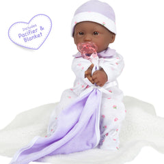 JC Toys, La Baby 11 inch Soft Body African American Baby Doll in Purple Outfit