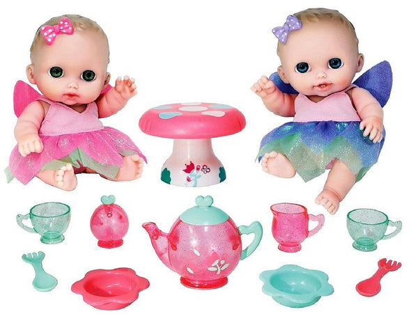"Lil' Cutesies Baby Dolls All-Vinyl 8.5"" Twin Fairy Tea Gift Set For Children 2+"