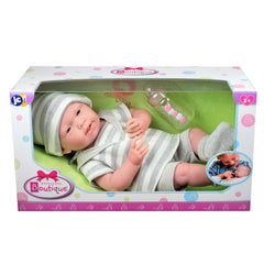 JC Toys, La Newborn All-vinyl Real Boy 15in Baby Doll in Grey Striped Outfit