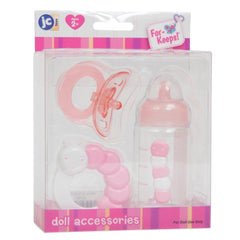 For Keeps! PINK Bottle Rattle and Pacifier Accessory Gift Set 3-Pieces. Fits Most Dolls - Ages 2+