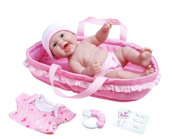 "La Newborn Realistic Baby Doll Soft Basket Set - 6 Piece Gift Set featuring 13"" All Vinyl Newborn Doll, Ages 2+ by JC Toys"
