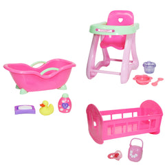 JC Toys, Accessory Bundle Crib, High Chair, Bathtub for Dolls up to 11 inches