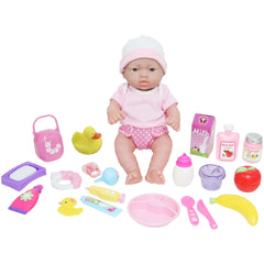 JC Toys, La Newborn Deluxe 12 inches Doll All Vinyl Nursery 25 Piece Gift Set