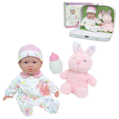 JC Toys, La Baby 11-inch Soft Body Play Doll Body Travel Case Gift Set, Pink.