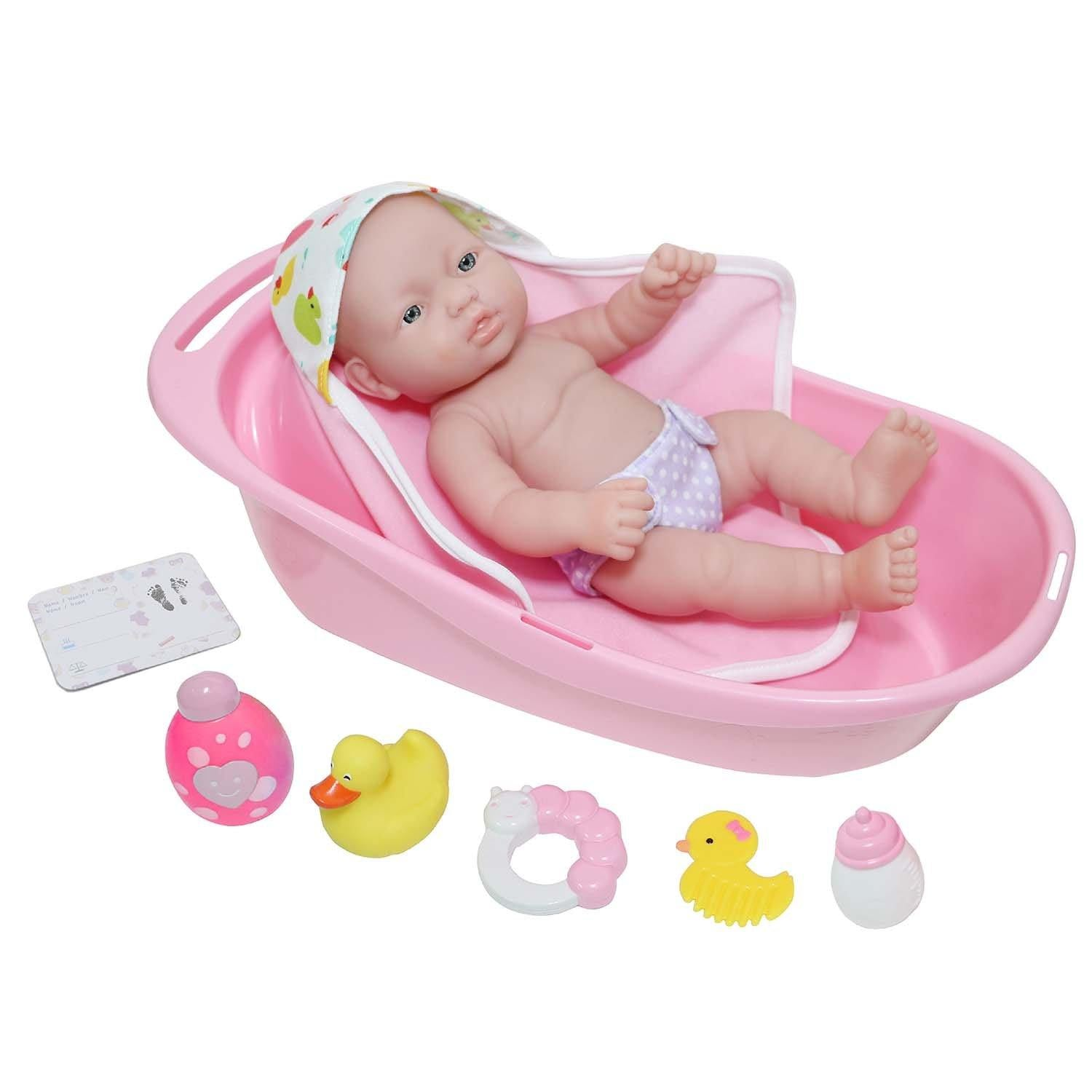 "JC Toys, La Newborn 10 piece Layette Deluxe Bathtub Gift Set 12"" Life-Like Vinyl Newborn Doll w/ Accessories Pink Waterproof Ages 2+"