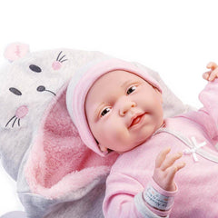 JC Toys, Soft Body La Newborn 15.5 inches baby doll -Pink Bunny Bunting Gift Set