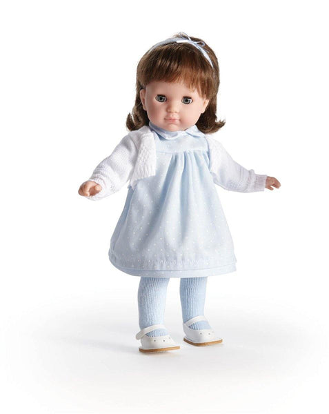 JC Toys Brunette Toddler Doll, 14-Inch Soft Body Doll Dressed in Pretty Blue and White Dress. Open and close eyes.  Designed by BERENGUER for Children 3+.