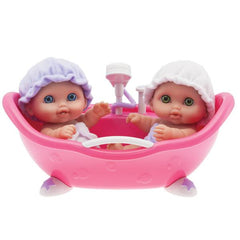 "Lil' Cutsies Twin Dolls in Bath - 8.5"" All vinyl water friendly dolls, designed by Berenguer"
