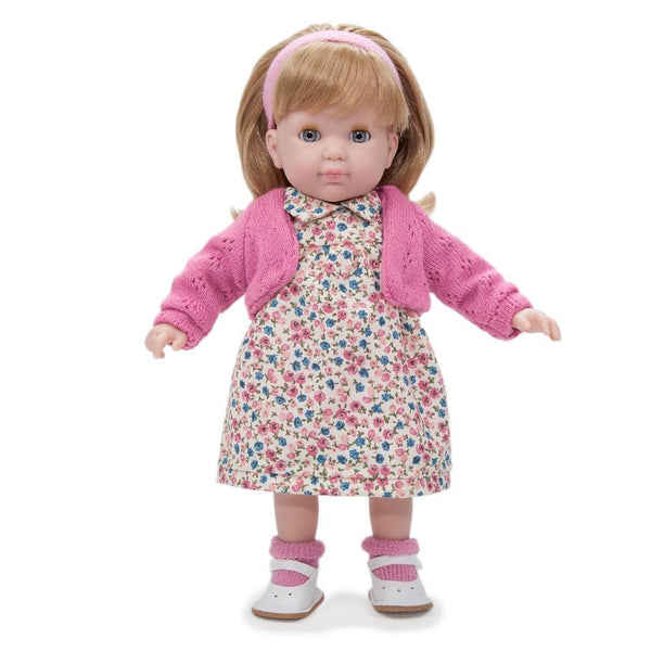 JC Toys Blonde Toddler Doll, 14-Inch Soft Body Doll Dressed in Pretty Sweater and Flower Dress. Open and close eyes.  Designed by BERENGUER for Children 3+.