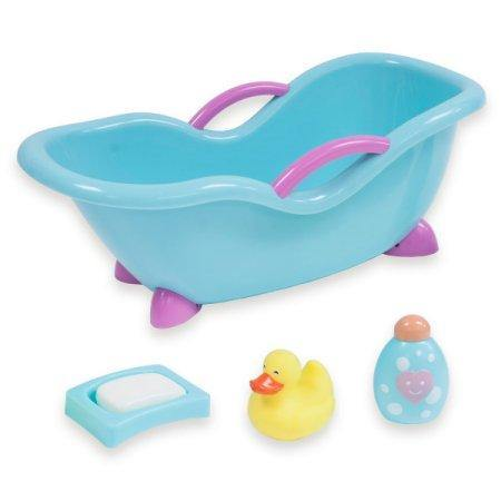 "For Keeps! Blue with Pink Baby Doll Bath Gift Set - Fits Small Dolls up to 11"" dolls"