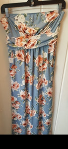 Powder Blue Floral Tube Dress With Pockets