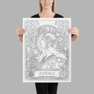 A ready-to-paint canvas of  Alphonse Mucha's zodiac poster